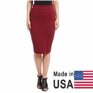 Women's Elegant Pencil Skirt, DSK-300, Wine